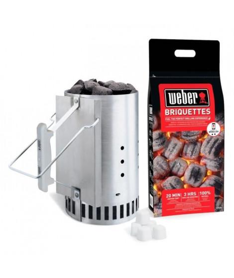 WEBER Kit cheminée d'allumage Rapidfire - Avec 2 kg de briquettes + 6 cubes allume-feux
