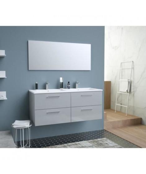 GLOSSY Meuble de Salle de bain double vasque L 120cm - Gris clair laqué brillant