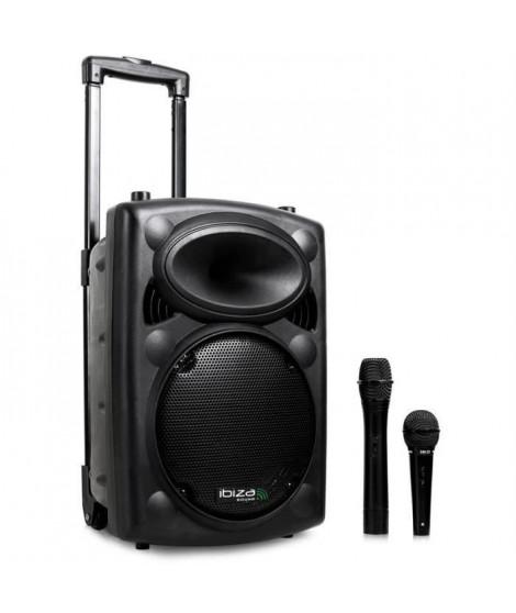 Ibiza Port 8 VHF - Enceinte sono portable avec micro sans fil et micro fil lecteur MP3 (USB SD, chassis ABS, batterie longue …