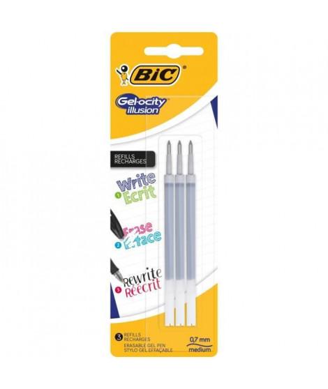 BIC Lot de 3 Recharges pour stylo roller encre gel effaçable Gelocity Illusion - Noir