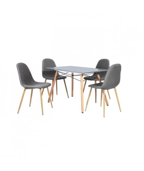 LONDON Ensemble salle a manger 4 a 6 personnes L120x I80 cm + 4 chaises Charlton tissu