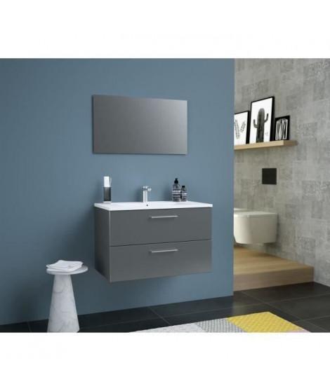 GLOSSY Meuble de Salle de bain simple vasque L 80cm - Gris foncé laqué brillant
