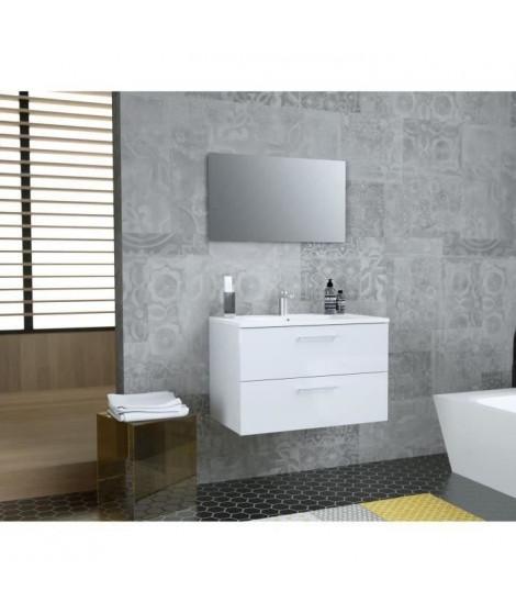 GLOSSY Meuble de Salle de bain simple vasque L 80cm - Blanc laqué brillant