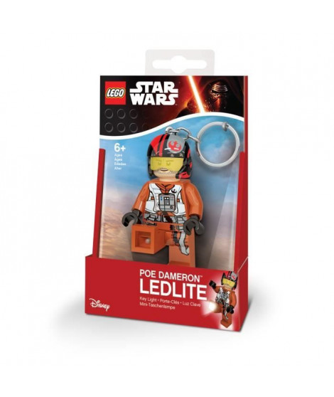 LEGO Star Wars Porte-clés LED Poe Dameron  - Pieds lumineux - Eclairage multidirectionnelle - 4,5 X 2,4 X 7,83 cm