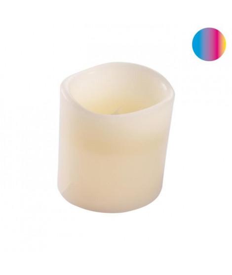 Bougie LED pilier en cire blanc - Ø 7,5 x H 10 cm - Variation couleur