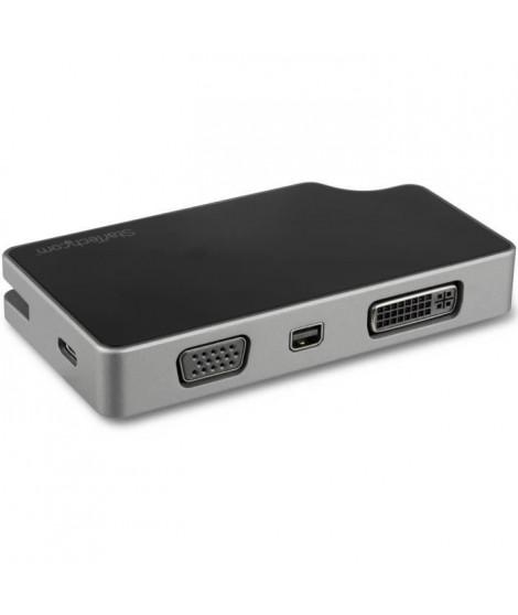 StarTech.com Adaptateur multiport AV numérique USB-C - VGA / DVI / HDMI / mDP - PD 95 W - Câble intégré - Gris sidéral (CDPVD…