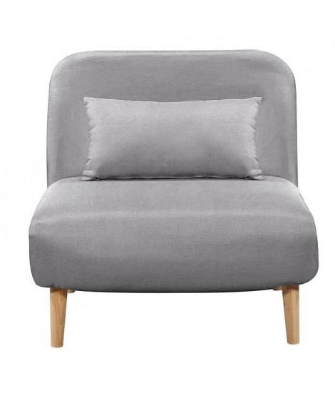 BEDZ Banquette BZ 1 place - Tissu gris clair - Style scandinave - L 85 x P 90 cm