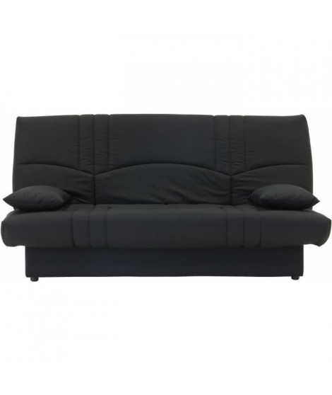 DREAM Banquette clic clac 3 places - Tissu noir - Style contemporain - L 190 x P 92 cm