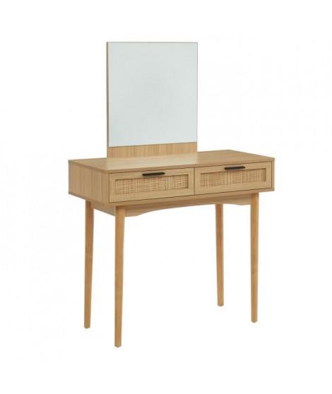 Coiffeuse 2 tiroirs avec cannage naturel - Décor imitation bois - L 90 x P 39,5 x H 135cm - AMANA