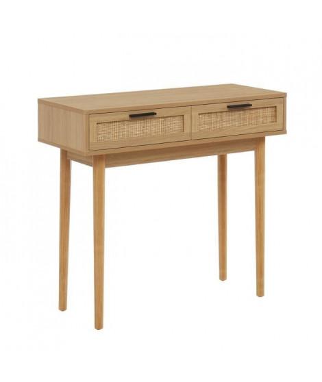 Console 2 tiroirs avec cannage naturel - Décor imitation bois - L 90 x P 35 x H 80cm - AMANA