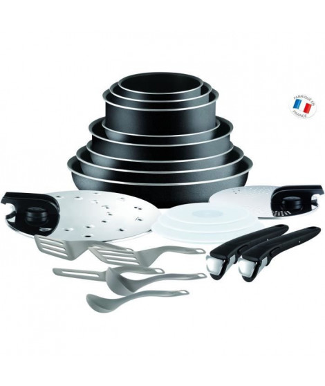 TEFAL INGENIO ESSENTIAL Batterie de cuisine 20 pieces L2009702 16-18-20-24-26-28 cm - Tous feux sauf induction - Noir