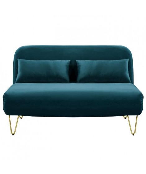 BEDZ Banquette BZ 2 places - Velours bleu canard - Vintage - L 132 x P 90 cm