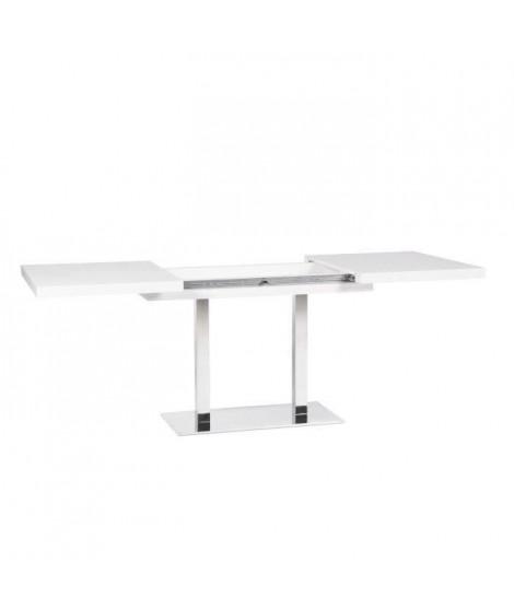Table a manger avec 2 allonges - Acier inoxydable et blance - L 120/200 x P 80 x H 75 cm - BRONXY