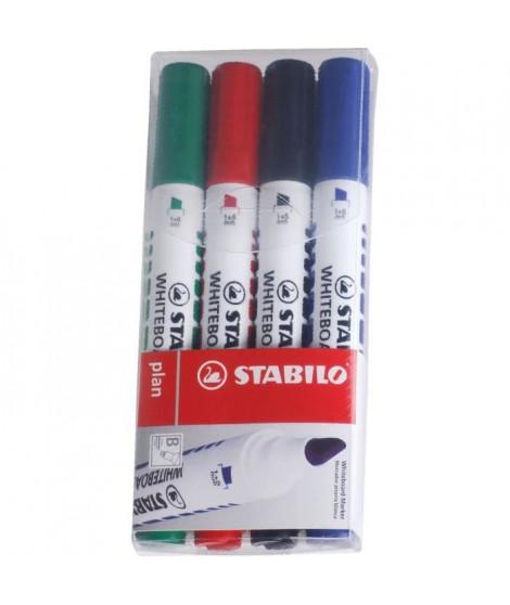 STABILO Plan - 4 marqueurs effaçable a sec - pointe biseautée