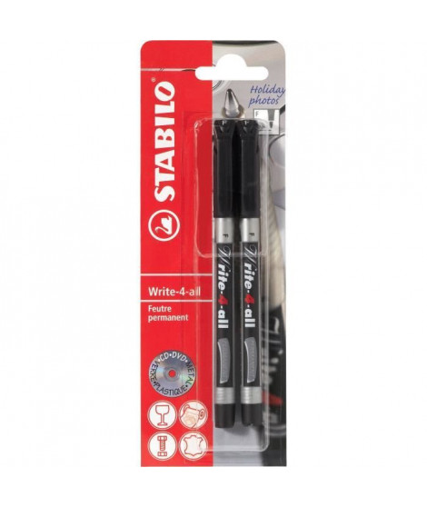 STABILO 2 marqueurs permanent Write-4-all - Pointe fine - Noir