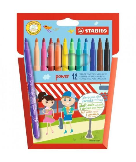 STABILO - 12 feutres de coloriage Trio A-Z - dont 4 fluos - pointe moyenne