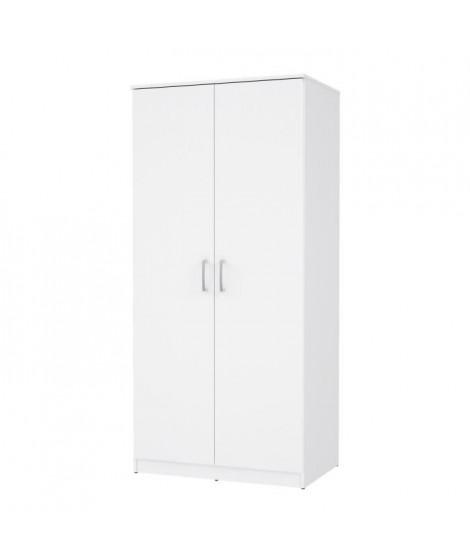 Armoire 2 portes battantes - Blanc - L 82 x P 52,7 x H 175,4 cm - OSTVIK