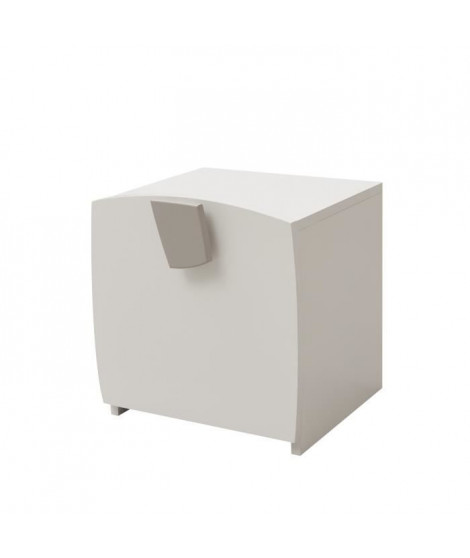 FREEZY Table de chevet enfant  1 Porte - Mdf - Blanc/Gris - L38,5 x P35 x H37,3 cm
