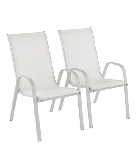 Lot de 2 fauteuils en acier - 54,5 x76 x 96cm - Gris
