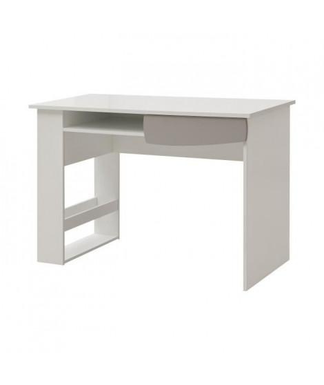 FREEZY Bureau enfant - 1 tiroir et niches - Mdf - Blanc/Gris - L115 xP55x H78cm