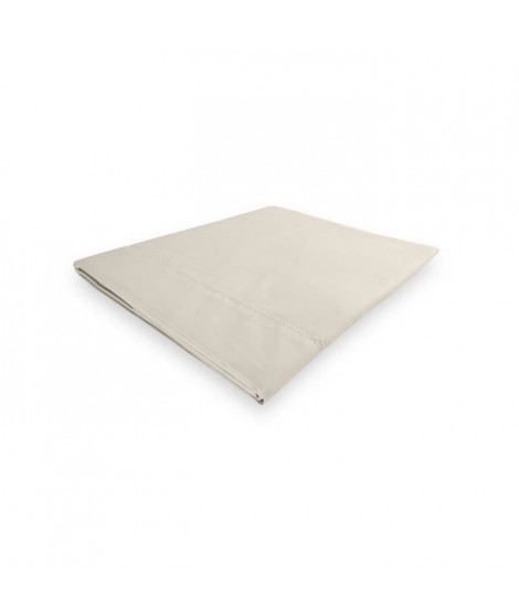 SOLEIL d'OCRE Drap plat Camille - Coton percale - 240 x 300 cm - Ecru
