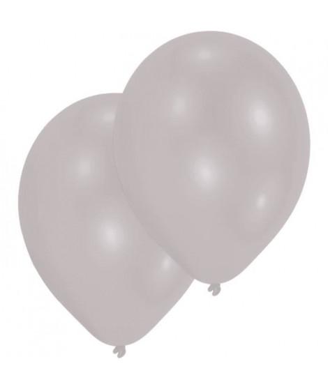 AMSCAN Lot de 10 Ballons en latex 27,5 cm/11 - Argent métallique