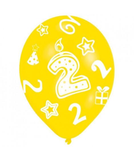 Lot de 6 Ballons - Latex - Bougie chiffre 2 - Imprimé tous côtés
