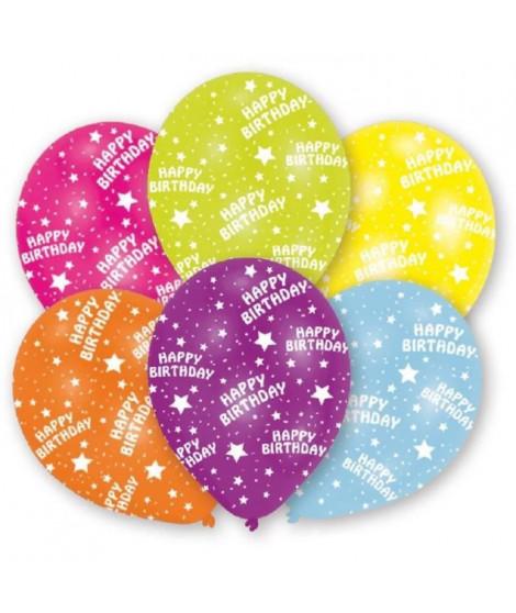 AMSCAN Lot de 6 Ballons en latex imprimé Happy Birthday - Jaune