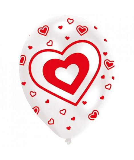 Lot de 6 Ballons - Latex - Coeurs - Imprimé tous côtés - Rouge et blanc