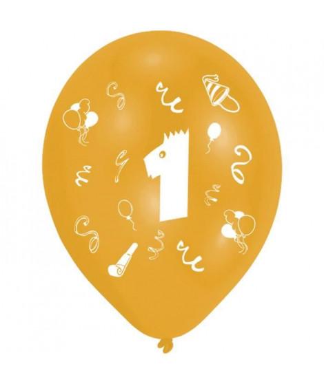 Lot de 8 Ballons - Latex - Chiffre 1 - Imprimé 2 faces
