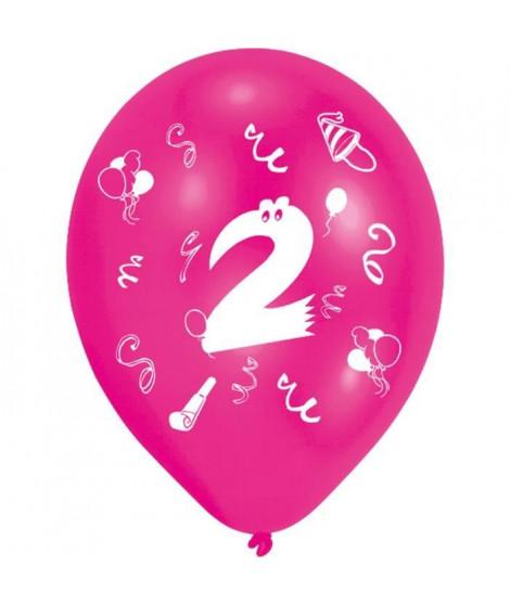 Lot de 8 Ballons - Latex - Chiffre 2 - Imprimé 2 faces