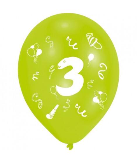 Lot de 8 Ballons - Latex - Chiffre 3 - Imprimé 2 faces