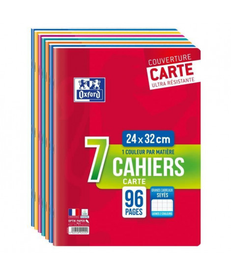 OXFORD - Lot de 7 cahiers agrafés - 96 pages - Grands carreaux Seyes - 24 x 32 cm - 90g