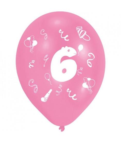 Lot de 8 Ballons - Latex - Chiffre 6 - Imprimé 2 faces
