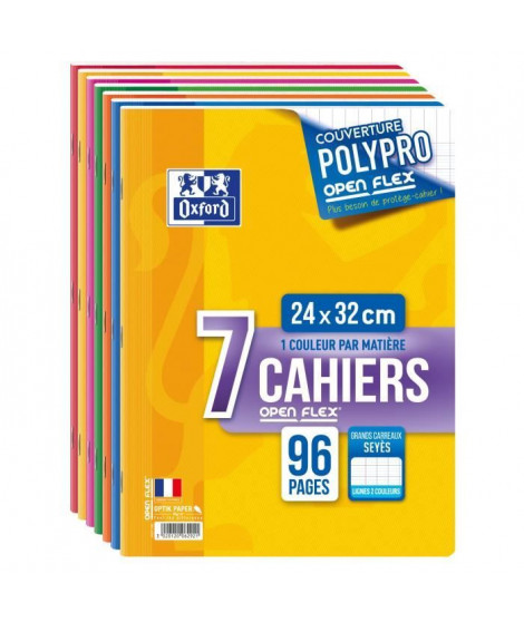 LOT 7 CAHIERS OPENFLEX AGRAFES 24X32 96P 90G SEYES