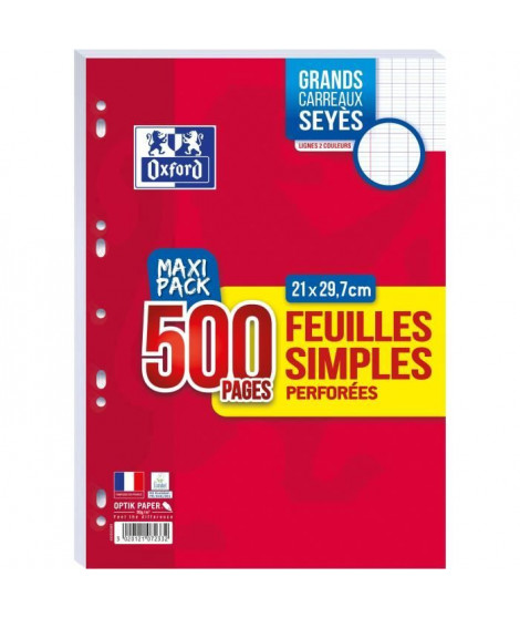 FEUILLES SIMPLES OXFORD PERFOREES 500 PAGES 90G SEYES