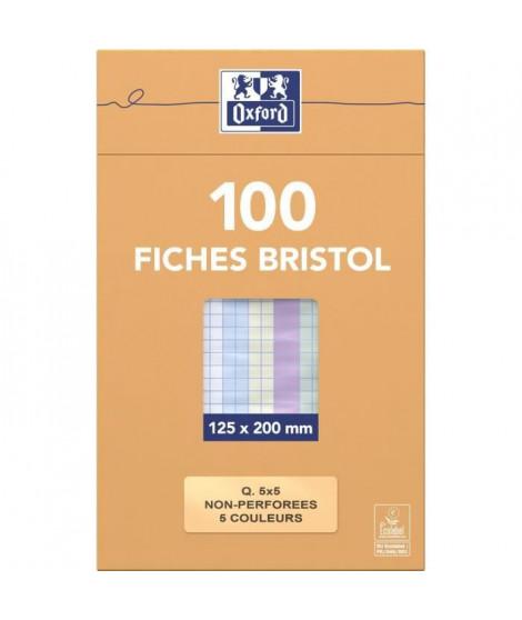 OXFORD 100 feuilles bristol - Petits carreaux - 20 cm x 12,5 cm x 2,6 cm