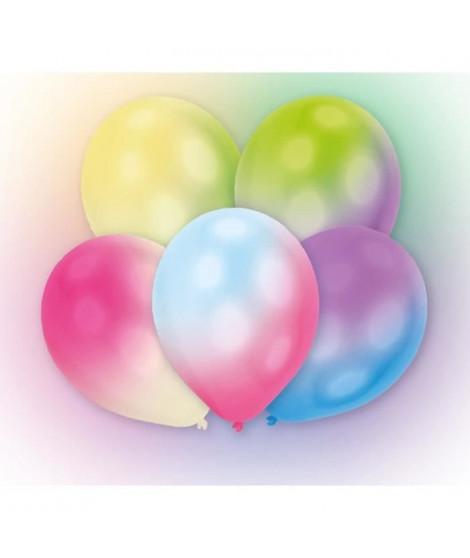 Lot de 5 Ballons avec LED - Latex - 27,5 cm - Couleurs changeantes