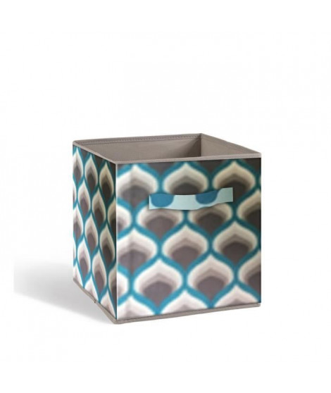 COMPO Tiroir de rangement - Tissu - 27 x 27 x 28 cm - Motif 70's - Bleu et gris