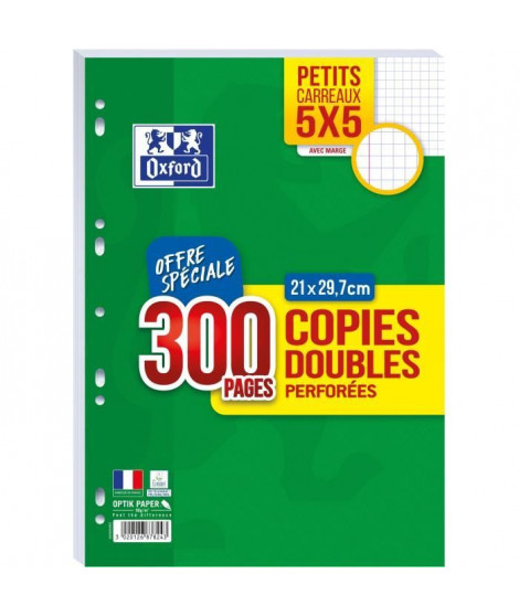 OXFORD - Copies doubles perforées 300 pages 5x5 - 90g