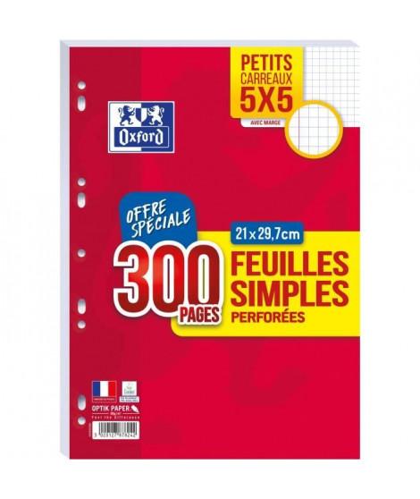 OXFORD - Feuilles simples perforées 300 pages 5x5 avec marge - 90g