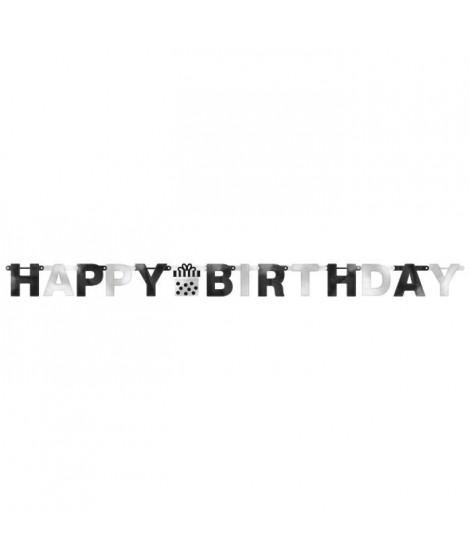 AMSCAN Guirlande lettres Happy Birthday noires et argent 2,19 m