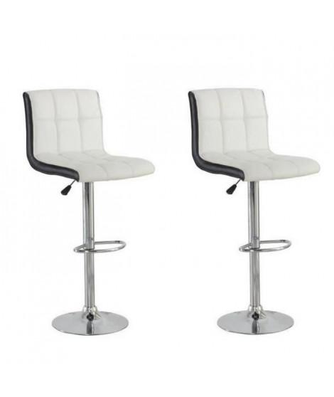 JOKER Lot de 2 tabourets de bar - Simili blanc et noir - Style contemporain - L  45 x P 49,5 cm