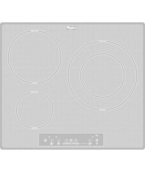 WHIRLPOOL ACM680NEWH - Table de cuisson induction - 3 zones - 7000W - L58 x P49cm - Revetement verre - Blanc