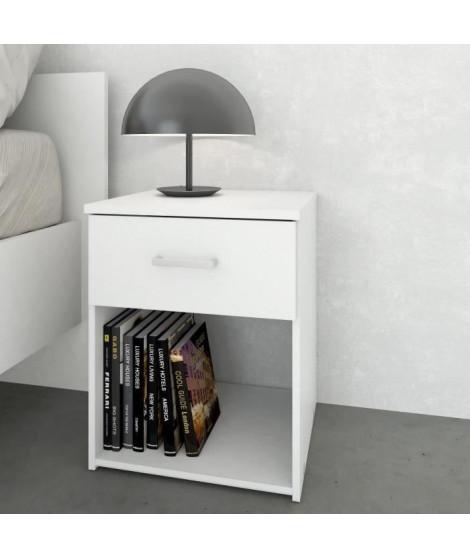 TYHJA Chevet  1 tiroir 1 niche - Blanc - L 37,6 x P 36 x H 47,5 cm
