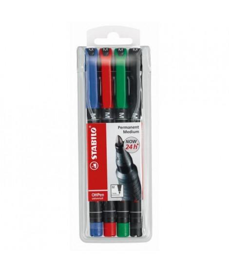 STABILO - 4 stylos Feutre OHPen - Encre permanente - Pointe moyenne 1,0