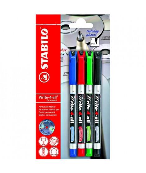 Blister x 4 marqueurs STABILO Write-4-all 0,7 mm - noir + bleu + rouge + vert