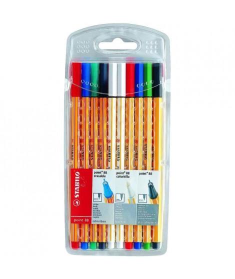 Killerset x 10 stylos-feutres STABILO point 88 (4 point 88 effaçables + 4 point 88 + 2 effaceurs)