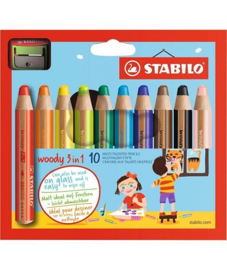 STABILO Boîte carton de 10 Crayons Woody + 1 Taille-crayon avec sécurité enfant