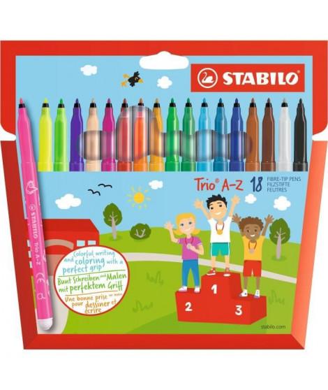STABILO - 18 feutres de coloriage Trio A-Z - dont 3 fluos - pointe moyenne